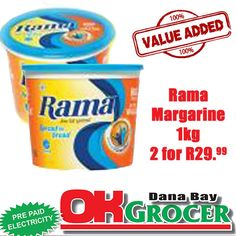 Rama Margarine - 2 for While stocks last Pre Paid, Watch This Space, Coffee Cans