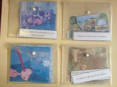 En cada sobre hay imágenes correspondientes a una historia. Se trata de ordenar las viñetas y asociarlas al texto que las describe.  http://contemquefem.blogspot.com.es/2013/04/racons-de-llengua.html