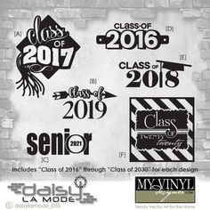 Graduation 'Class of' Vectors Graduation Scrapbook, Graduation Shirts, Graduation Ideas, Vinyl Crafts, Vinyl Projects, Senior Class Shirts, Class Design, Silhouette Cameo Projects, Custom Vinyl
