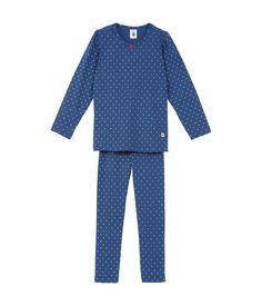 Pyjama fille en coton imprimé mini pois bleu Major / blanc Ecume - Petit Bateau