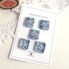 Ceramic buttons  5 handmade square porcelain by KilnFiredArt