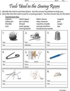 Sewing Printables Free Sewing Tools Worksheet