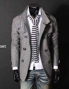 Men pea-coat / trench coat with stripe scarf.