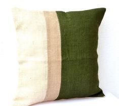 Green Pillow  Burlap Pillow color block  Green by AmoreBeaute