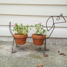 Upcycle iron dog food & water bowl into a planter