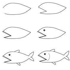 How To Draw Simple Learn A Fish With Step By