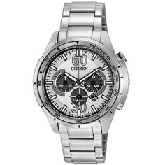 Citizen CA4121-57A Men's HTM Eco-Drive Sport White Dial Steel Bracelet Chronograph Watch