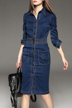Blue Denim Knee Length Dress