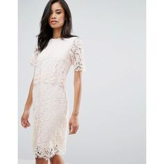 Club L Lace Detail Overlay Midi Scallop Dress (47 CAD) via Polyvore featuring dresses, pink, pink lace dress, round neck dress, lacy dress, calf length dresses and midi dress