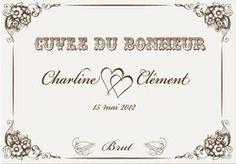 Etiquette personnalisée  de vin ou de  champagne | Vintage - ETIQUETTE BOUTEILLE 12x10 PERSONNALISEE - Amalgame imprimeur-graveur - Voir en grand