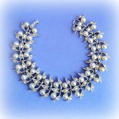High Fashion Rhinestone & Pearl on Silver Vintage Bracelet