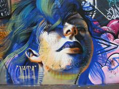 Graffiti : Another mural by artist N4T4 in Nuneaton in the UK.