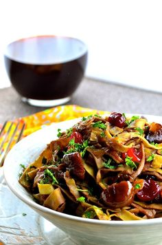 Edamame Pasta with Caramelized Onions, Cranberries and Chestnuts   Community Post: 27 Vegan Thanksgiving Dishes That Will Make Meat Eaters Drool