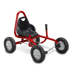 Cool driving characteristics making it exciting to ride. Gives lots of fun with thrills and stimulation. Steering of the FunCart is smooth by using two handle pins making the rear wheels move. Improves children's coordination skills as the child uses their entire body when driving.  Suitable for children aged 6 – 10 years.  5 year warranty on frame and fork Specification  Product Code 48700 Dimensions H670 x W645 x D900mm
