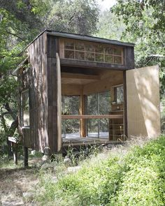 Topanga Cabin by Mason St. Very simple (unplumbed etc.) cabin, with some neat design-y bits. Tiny Cabins, Tiny House Cabin, Prefab Cabins For Sale, Topanga Canyon, Affordable Housing, Cabins In The Woods, Little Houses, Tiny Houses, Bungalow