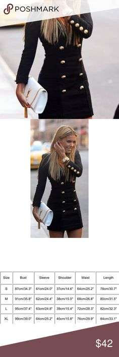 Chic Button Mini Dress Black mini dress with gold tone buttons.   Gender: Women's   Style: Fashion  Material: Cotton Blended  Pattern: Pure black no pattern   Collar: V Neck  Version: Slim  Sleeve type: Regular   Sleeve: Full length   Length: Mini  Color: Black  Package include: 1 PC Dress Dresses Mini