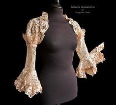 Shrug Farfalla, size S-M, nude lace, cottage chic, victorian, steampunk, art nouveau, Somnia Romantica by Marjolein Turin