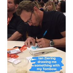 That time Amy Tangerine let Ian Ziering use her Tombow Dual Brush Pen (swoon)