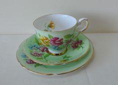 Vintage Royal Stafford SWEETPEA Bone China Tea Cup Saucer & Plate Trio Set