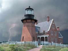 """""""Block Island - South east lighthouse"""" Look at that lightning."""