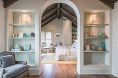 Master bedroom suite - love the built in bookcases and the planked wood ceiling eclecticallyvintage.com
