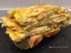 #tosta de #tortilla de #patata #jamon #queso para acabar con el...