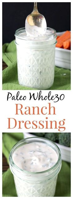 Paleo Whole30 Ranch- easy, quick, thick, creamy, and so delicious! You will…