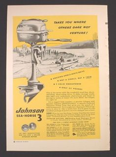 Magazine Ad for Johnson Sea-Horse 3 Outboard Motor, One Million, 1953