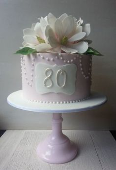 80th Birthday Cake with Sugar Magnolias - by EstherS @ CakesDecor.com - cake decorating website