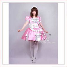 Free Shipping Sexy Sissy Maid Satin Pink Dress Uniform Cosplay Costume Tailor-made