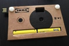 Defo a cool gift!     At the recent Fuorisalone event, a design expo held in Milan, Ikea gave out branded cameras in its press kit to media attendees. The simplistic cardboard camera has built-in memory that can stor