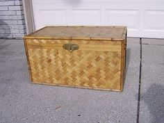 Beautiful Vintage Bamboo Wicker Chest Trunk | eBay