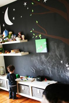 love the idea of using chalk board paint on an entire wall.  Awesome!