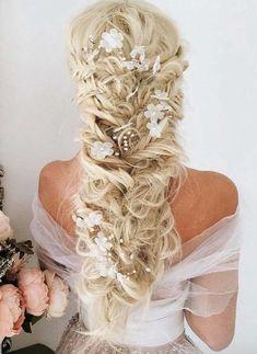 Unique Wedding Hairstyles, Diy Hairstyles, Pretty Hairstyles, Hairstyle Ideas, Hair Ideas, Elegant Wedding Hair, Wedding Hair And Makeup, Bridal Hair, Dress Wedding