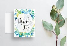 blue green yellow floral watercolor thank you cards // folded