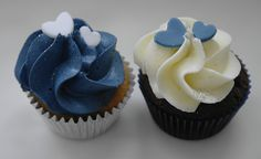 Navy and Ivory Mini Wedding Cupcakes by There for the Baking, via Flickr