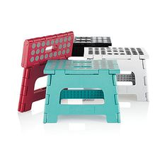 definite must-have in any home, dorm or office, this lightweight but sturdy Kikkerland Easy Folding Step Stool can support up to 300 lbs. It easily folds flat for hassle-free storage and comes with a built-in carry handle for convenient portability. Mid Century Dining Chairs, Modern Dining Chairs, Classroom Stools, Dorm Bedding Sets, College Bedding, Dorm Shopping, Starting A Daycare, Brown Leather Recliner Chair, Adirondack Chairs For Sale