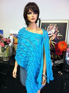 Shawl Hand Knitted Cables Terquoise Blue Water Waves by Roses and Hearts Orig | eBay