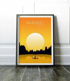 China Poster, Minimalist Travel Print, Wall Art, Modern City Poster, Modern Travel Art, Minimalist Wall Art, China Wall Art, China Print