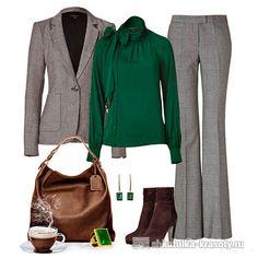 Сочетание цветов в одежде зеленый и серый