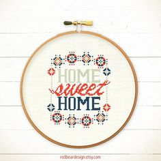 Home Sweet Home cross stitch pattern - Modern Home sweet home - Xstitch Instant download - Funny Colorful Happy Floral Love Cool Typographic