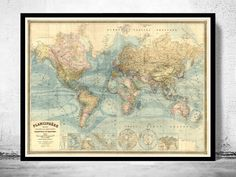 Vintage World Map Atlas 1904 French edition  fine by OldCityPrints