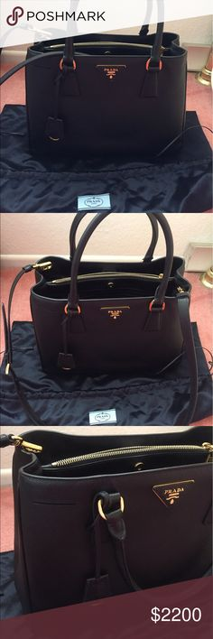 ✨$1,690**🌟Prada 1874 Prada BN1874 saffiano luxe nero. i would say 9/10 condition. comes with dustbag and authenticity card. email: specialsmileazn@yahoo.com for additional/specific photos **local pick up discount Prada Bags