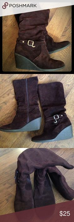 Brown suede slouchy boots super cute brown suede slouchy boots with a wedge heel. cute AND comfy! like new! Shoes