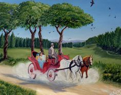 (c) A Carriage Ride by Marwan Kishek - Oil on canvas Landscape Paintings, Oil Paintings, Natural Scenery, Painting & Drawing, Oil On Canvas, Colours, Drawings, Nature, Art