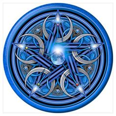 Blue Crescent Moon Pentacle Dark T-Shirt by Naumaddic Arts - CafePress Pagan Symbols, Pagan Art, Occult Art, Spell Circle, Element Symbols, 5 Elements, 3d Cnc, Nordic Tattoo, Magic Circle