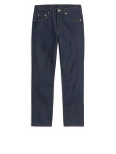 Front image of Arket fitted rigid denim jeans in blue