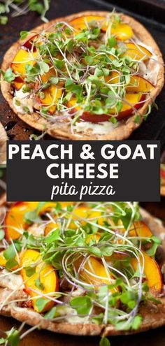 Pita pizza with goat cheese, microgreens, and peaches may seem fancy, but it takes just 15 minutes and 5 main ingredients to make! It's perfect for a quick lunch or cut into slices for a party appetizer. Vegetarian Appetizers, Vegetarian Lunch, Appetizers For Party, Vegetarian Recipes, Fruit Recipes, Lunch Recipes, Party Recipes, Savoury Finger Food, Peach Kitchen