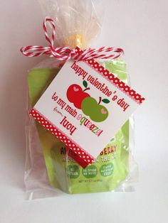 PRINTABLE Valentine Apples Party Favor Tags - You Print - for Valentine's Day, Applesauce on Etsy, $6.00