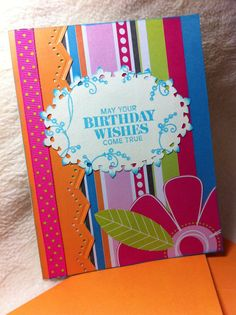 One of A Kind Bright and Cheery Birthday Wishes Homemade Birthday Card Homemade Birthday Cards, Homemade Greeting Cards, Homemade Cards, It's Your Birthday, Birthday Wishes, Handmade Envelopes, All Craft, Card Designs, Special Day